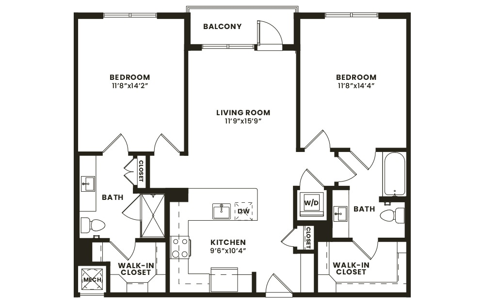 B1 - 2 bedroom floorplan layout with 2 baths and 1107 square feet. (2D)