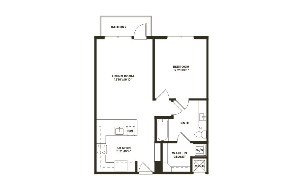 A2 - 1 bedroom floorplan layout with 1 bath and 753 square feet. (2D)