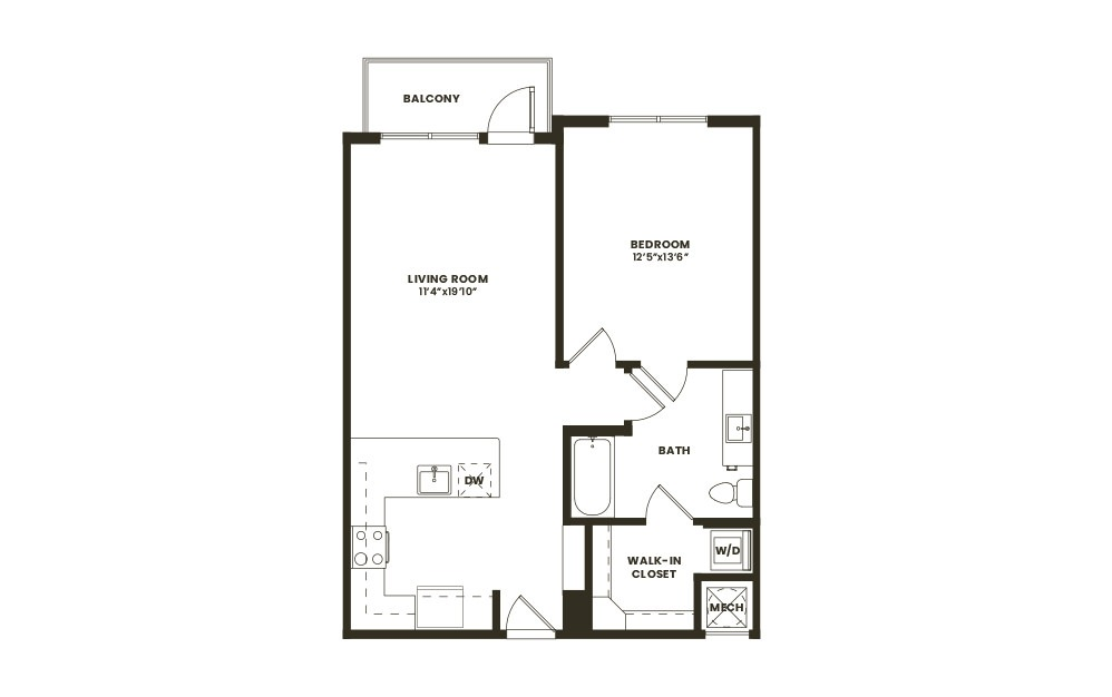 A3 - 1 bedroom floorplan layout with 1 bath and 765 square feet. (2D)