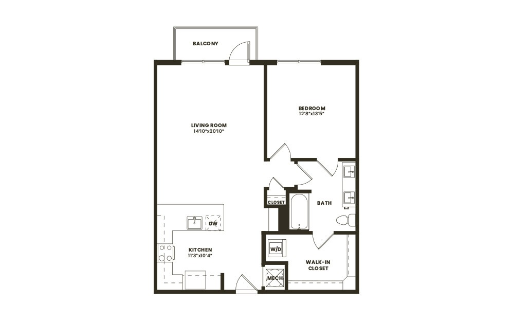 A4 - 1 bedroom floorplan layout with 1 bath and 855 square feet. (2D)