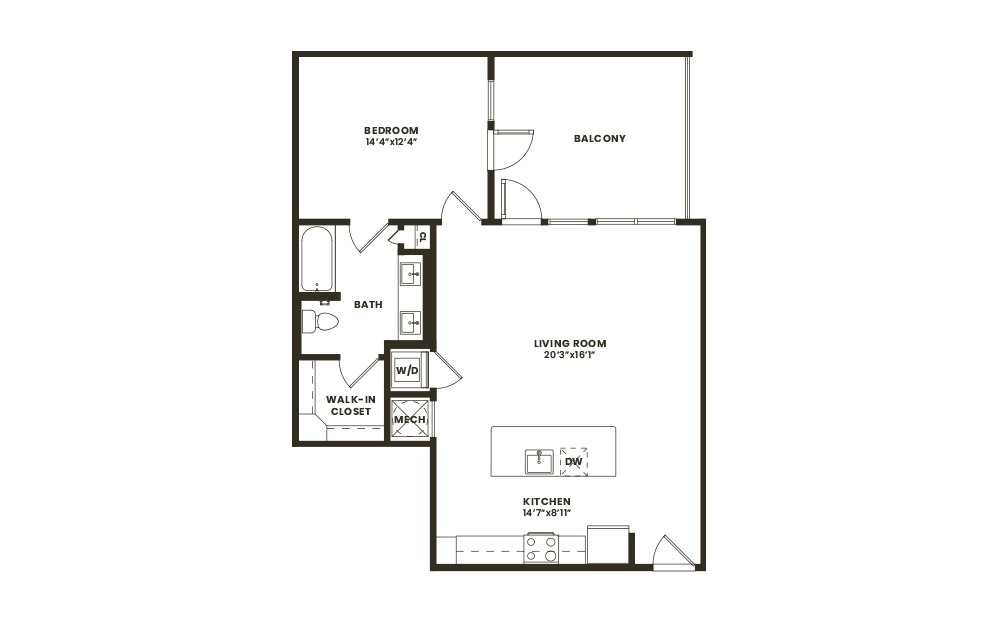 A5 - 1 bedroom floorplan layout with 1 bath and 866 square feet. (2D)