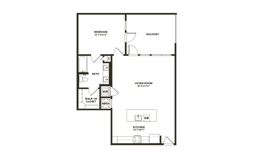 A6 - 1 bedroom floorplan layout with 1 bath and 869 square feet. (2D)