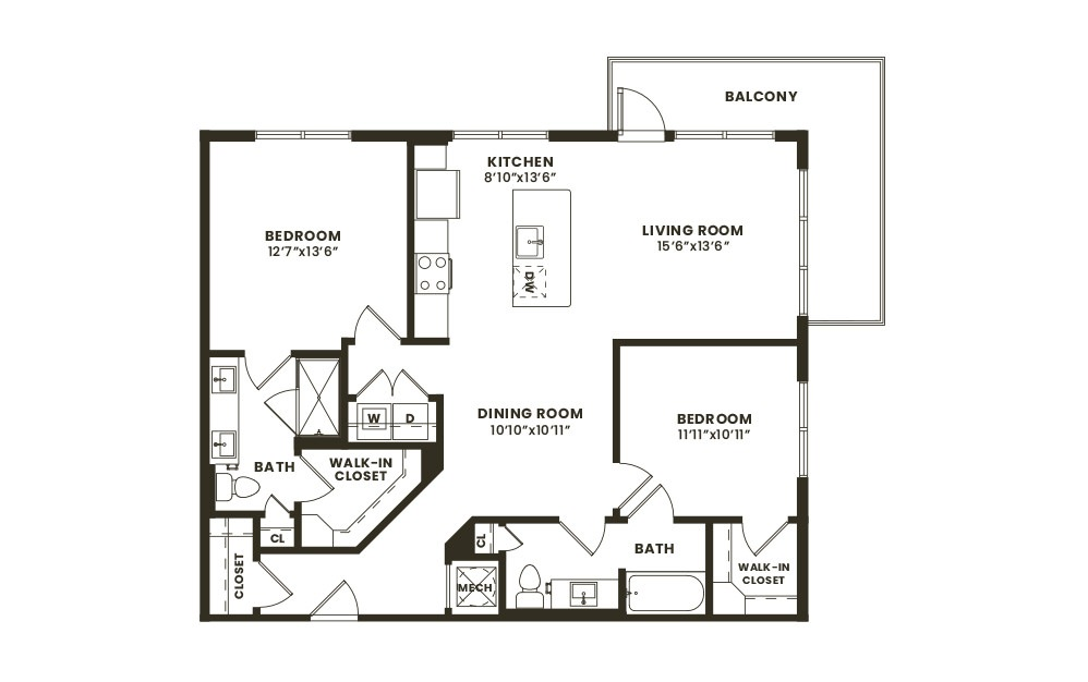 B3 - 2 bedroom floorplan layout with 2 baths and 1113 square feet. (2D)