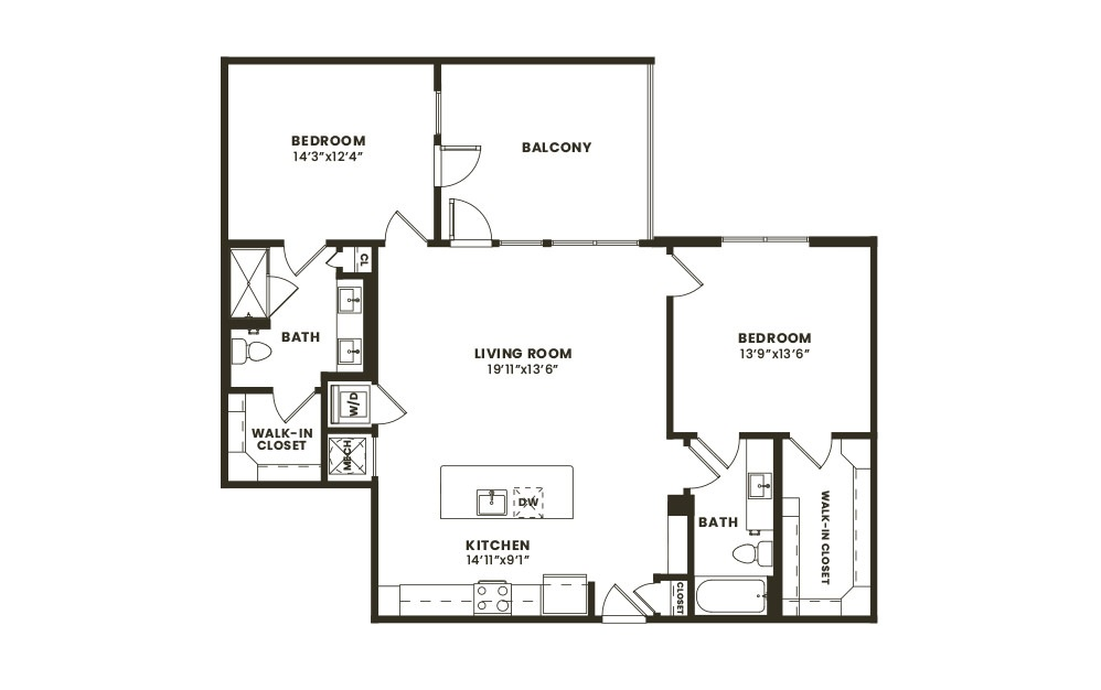 B5 - 2 bedroom floorplan layout with 2 baths and 1219 square feet. (2D)