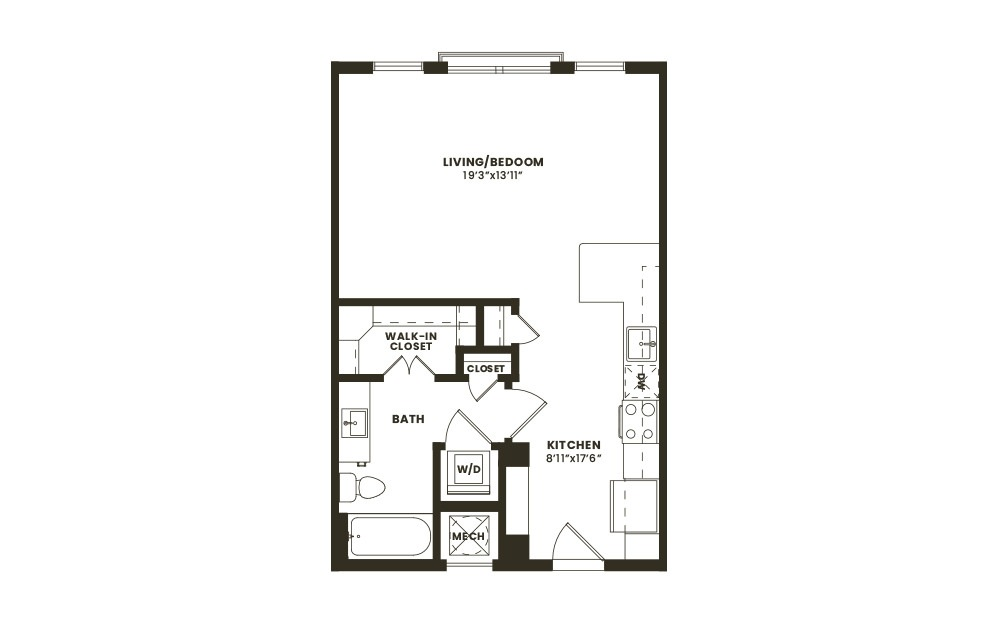 S1 - Studio floorplan layout with 1 bath and 561 square feet. (2D)