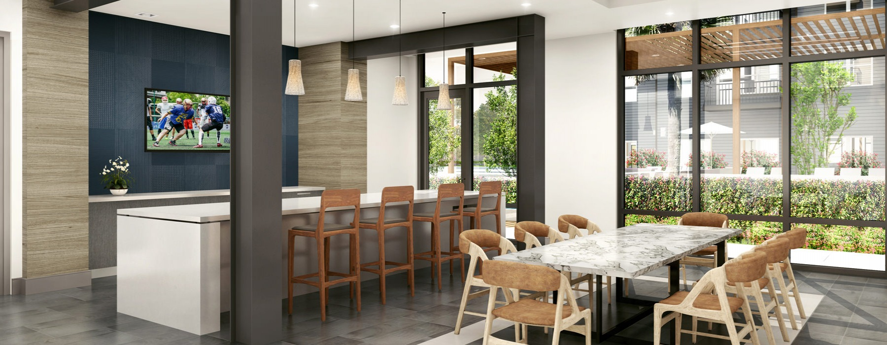 Residents lounge has a galley kitchen and floor-to-ceiling windows
