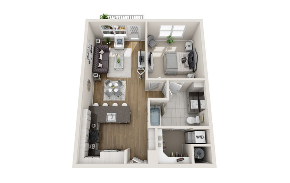 1 bed 1 bath A2 floorplan 753 square feet