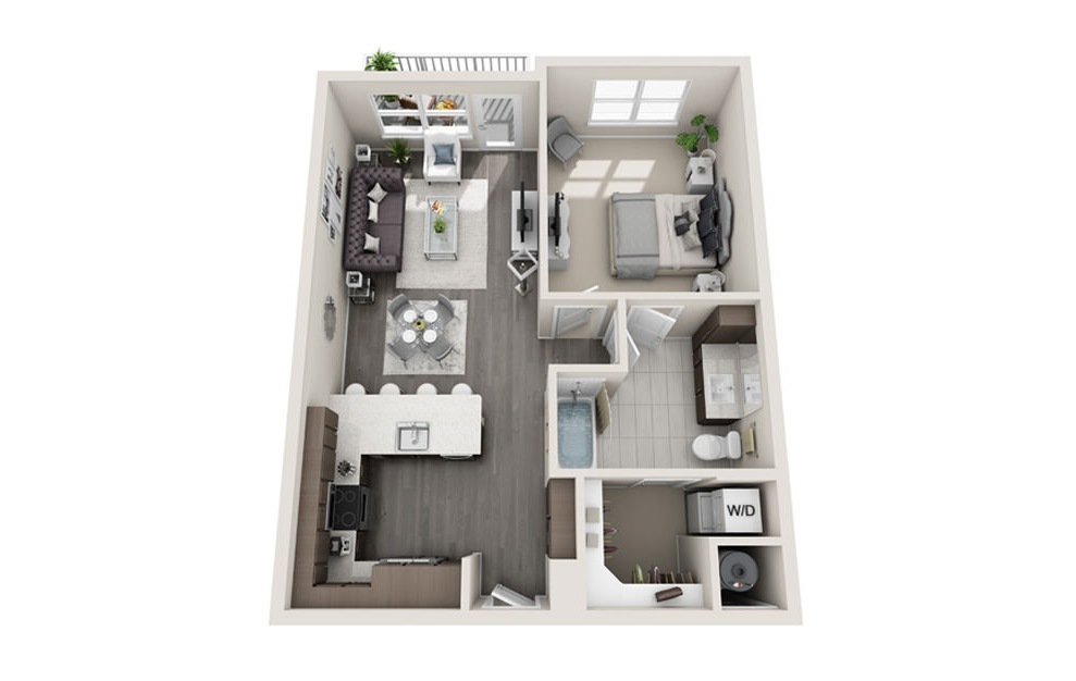 1 bed 1 bath A3 floorplan 765 square feet