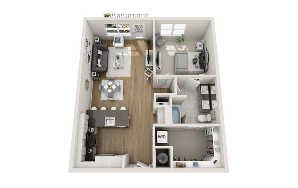 1 bed 1 bath A4 floorplan 855 square feet