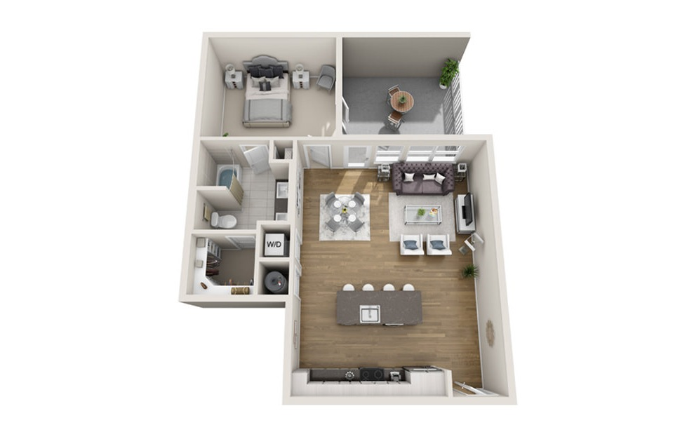 1 bed 1 bath A5 floorplan 866 square feet