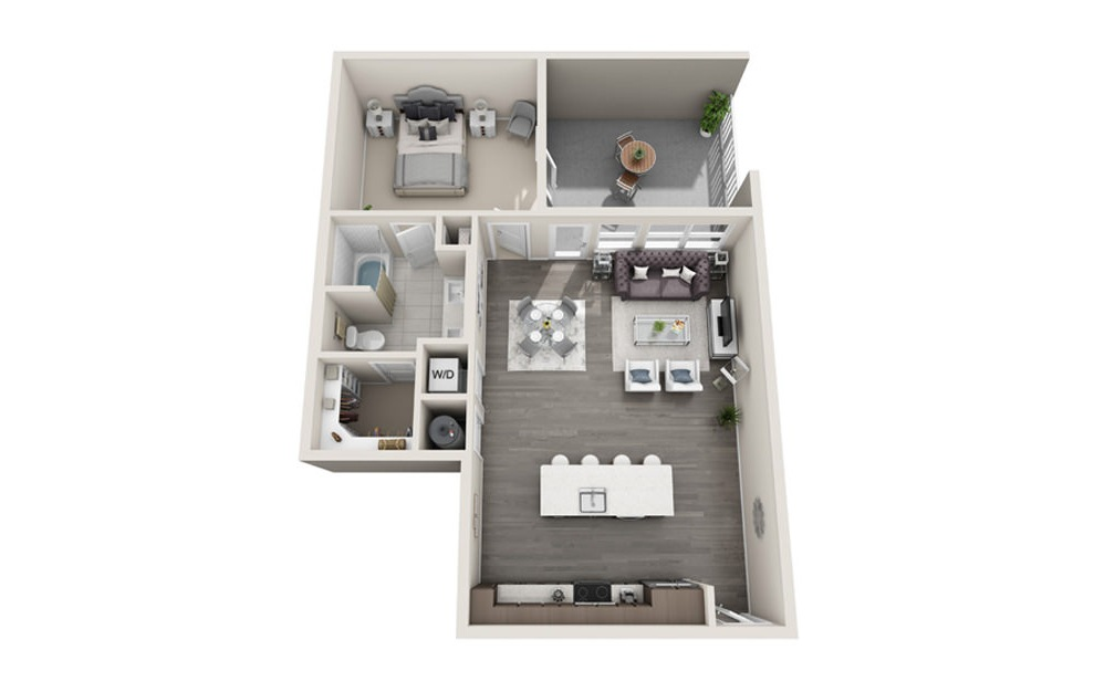 1 bed 1 bath A6 floorplan 869 square feet