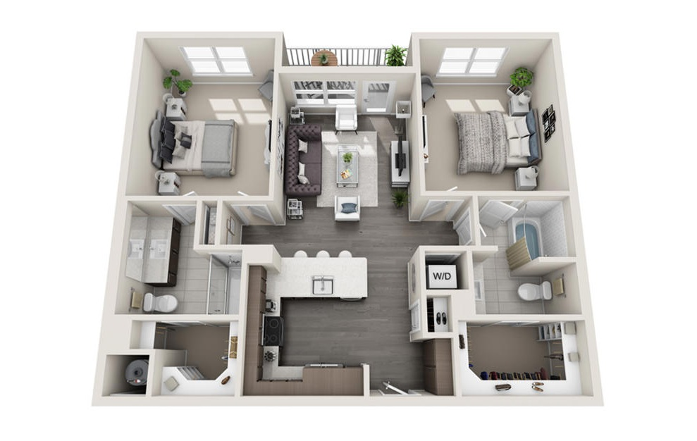 2 bed 2 bath B1 floorplan 1107 square feet