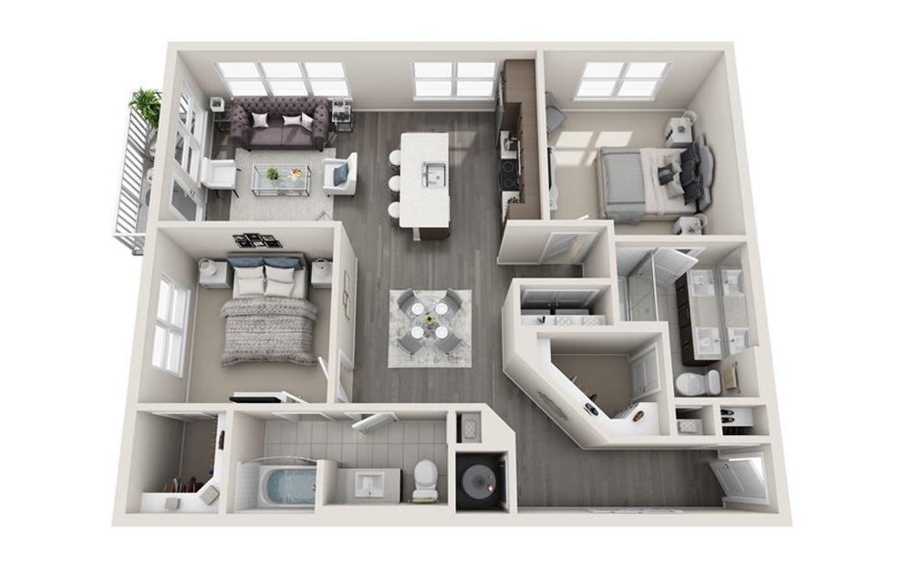 2 bed 2 bath B2 floorplan 1109 square feet