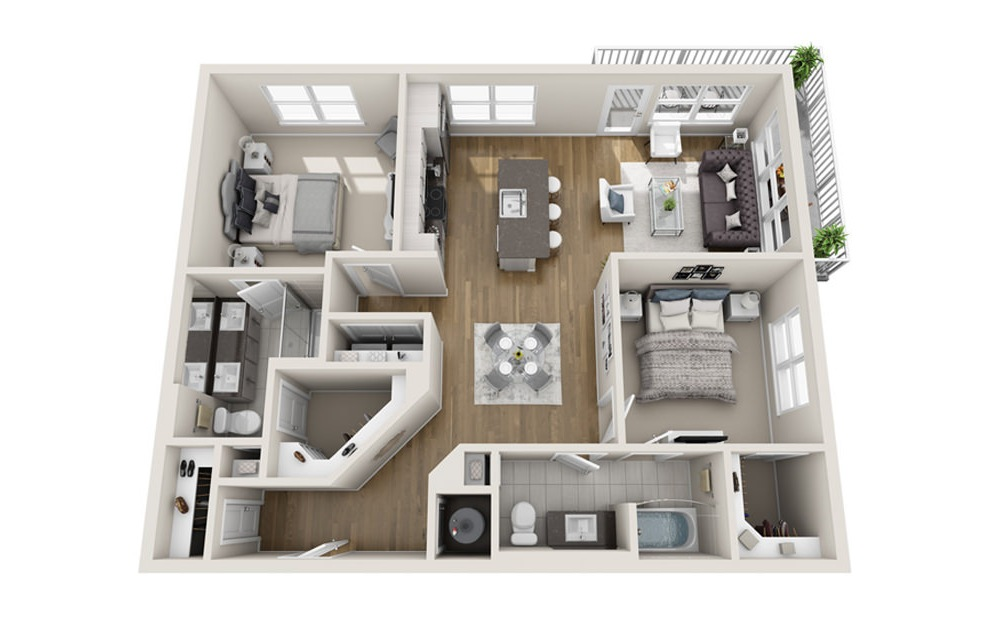 2 bed 2 bath B3 floorplan 1219 square feet
