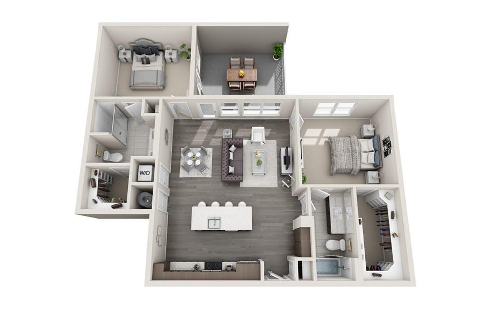 2 bed 2 bath B5 floorplan 1219 square feet