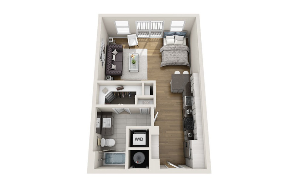 Studio 1 bath S1 floorplan 561 square feet